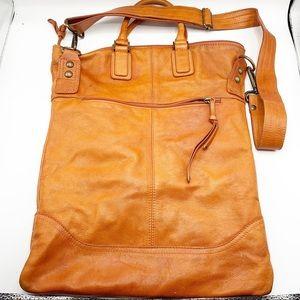 Maurizio Tauiti Orange Leather Shoulder Bag